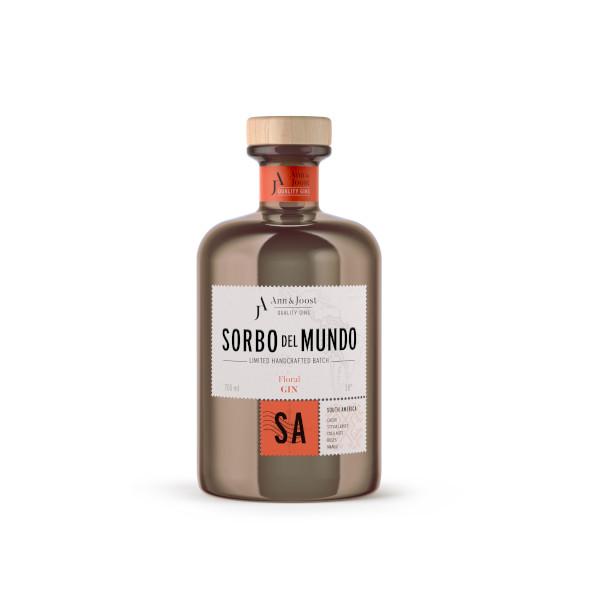 Gin belge Sorbo del Mondo Amérique du Sud, disponible sur le webshop d'Histoire de boire